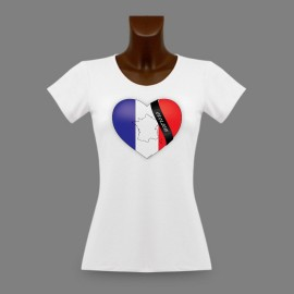 Women's slim T-shirt - French Heart - in memory of Charlie