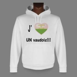 Sweatshirt blanc à capuche - J'aime UN vaudois