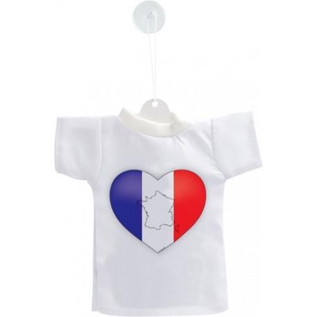 Mini T-Shirt - Coeur français, pour décoration de voiture, bouteille ou de fenêtre