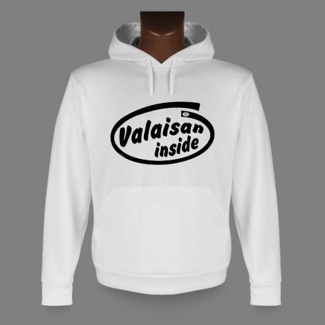 Sweatshirt blanc à capuche homme - Valaisan inside
