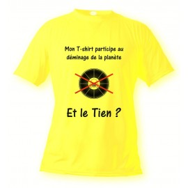 T-Shirt - support demining, Safety Yellow