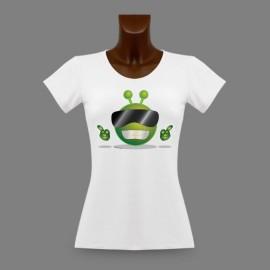 Women's Slim Funny T-Shirt - Cool Alien Smiley