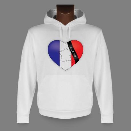 Sweat blanc à capuche - Coeur français - en mémoire de Charlie