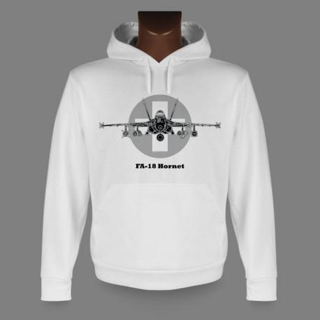 Hooded Fighter Aircraft Sweatshirt - Swiss FA-18 Hornet