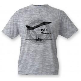 Kinder Fighter Aircraft T-shirt - F-14 Tomcat, Ash heater