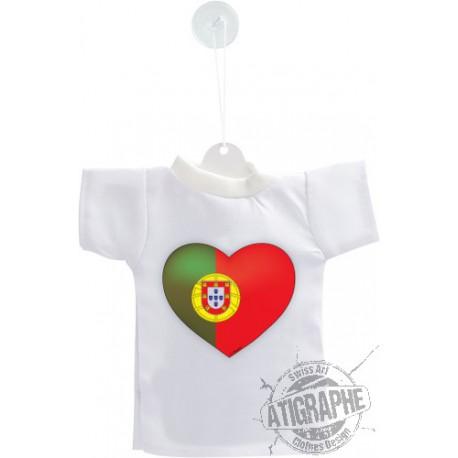 Mini T-Shirt - Coeur portugais - pour votre voiture