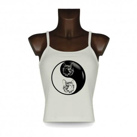 Canotta Donna moda - Yin-Yang - Gatto tribale, Natural