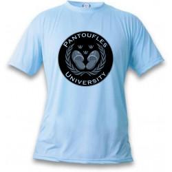 Humoristisch T-Shirt - Pantoufles University - für Frauen oder Herren, Ash Heater, Blizzard Blue
