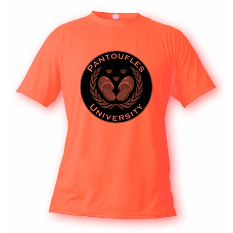 Women's or Men's funny T-Shirt - Pantoufles University, Safety Orange