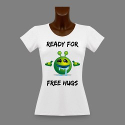 Donna Slim Funny T-Shirt - Ready for free Hugs
