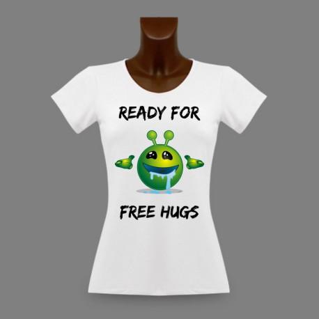 Women's Slim Funny T-Shirt - Ready for free Hugs