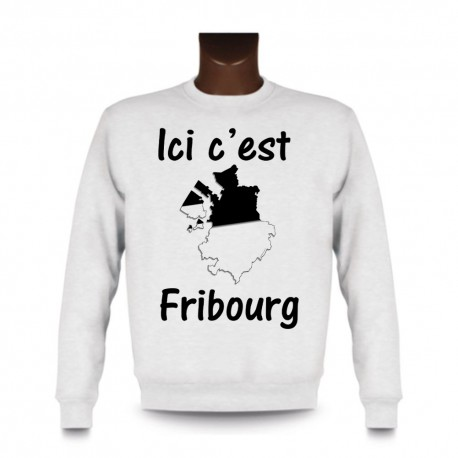Women's or Men's Sweatshirt - Ici c'est Fribourg, White