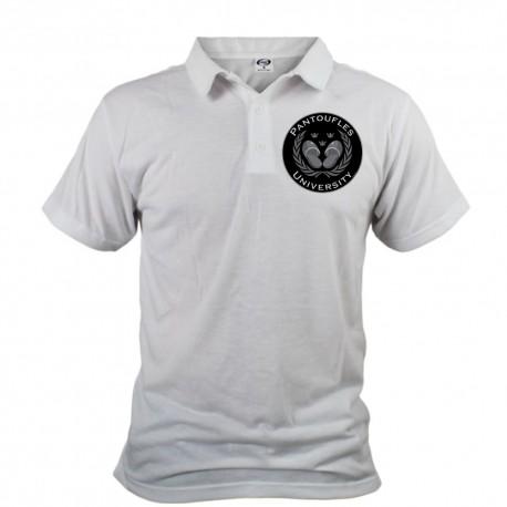 Men's Funny Polo Shirt - Pantoufles University, White