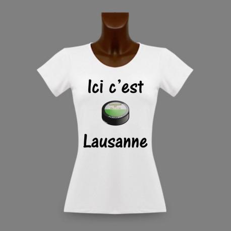 Woman's slim T-Shirt - Ice Hockey - Ici c'est Lausanne