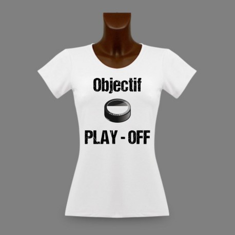 T-Shirt dame moulant puck de hockey fribourgeois - Objectif PLAY - OFF