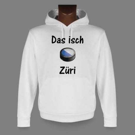 Sweatshirt blanc à capuche - puck de hockey - Das isch Züri