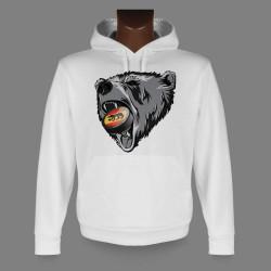Sweatshirt blanc à capuche - Ours et puck de hockey bernois