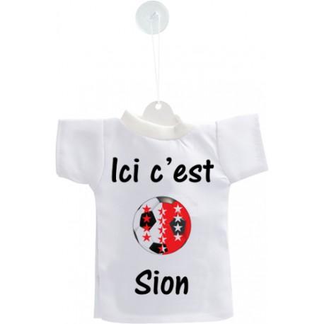Mini T-shirt football valaisan - Ici c'est Sion - pour votre voiture