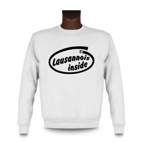 Men's Funny Sweatshirt - Lausannois inside, White