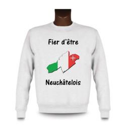 Men's Sweatshirt - Fier d'être Neuchâtelois, White