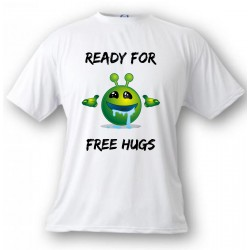 Men's or Women's funny T-Shirt - Ready for free Hugs, White