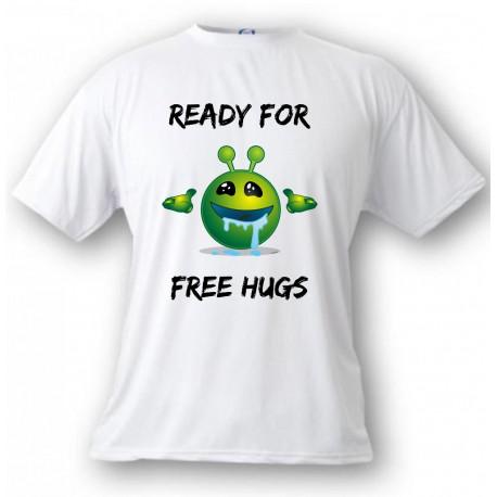 T-Shirt humoristique - Ready for free Hugs - pour femme ou homme, White