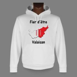 Sweatshirt blanc à capuche - Fier d'être Valaisan
