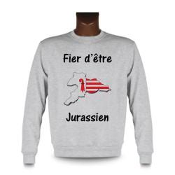 Men's Sweatshirt - Fier d'être Jurassien, Ash Heater