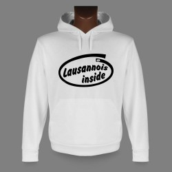Donna o Uomo Sweat bianco a cappuccio - Lausannois inside