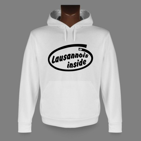 Women's or Men's Hooded Funny Sweat - Lausannois inside
