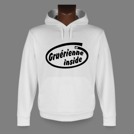 Sweatshirt blanc à capuche - Gruérienne inside - pour dame