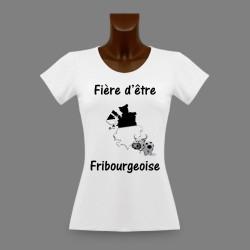 Donna slim T-shirt - Fière d'être Fribourgeoise 3D e con una Vacca