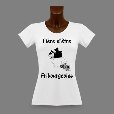 T-Shirt slim moulant pour femme - Fière d'être Fribourgeoise - Frontières 3D et Vache