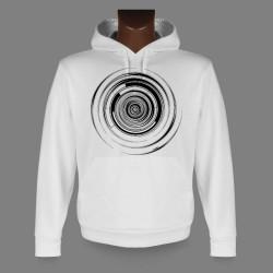 Sweatshirt blanc à capuche - Techno-spirale