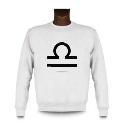 Frauen oder Herren Sweatshirt - Sternbild Waage, White