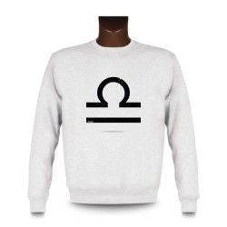 Women's or Men's Sweatshirt - Libra astrological sign, White