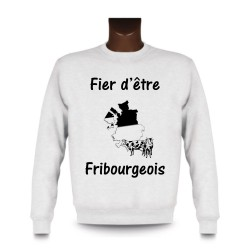 Uomo Sweatshirt - Fier d'être Fribourgeois - Vacca e frontiere, White