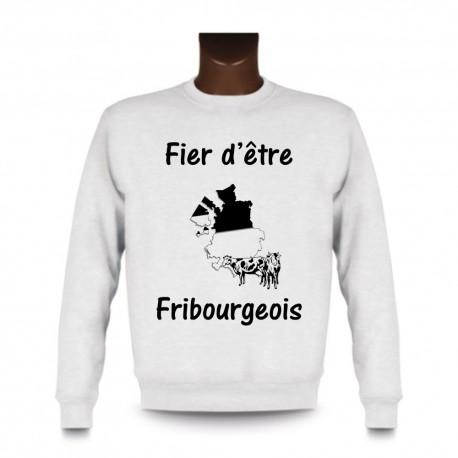 Uomo Sweatshirt - Fier d'être Fribourgeois - Vacca e frontiere, White