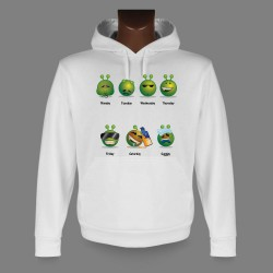 Women's or Men's Hooded Funny Sweat - Alien Smiley - - The working week