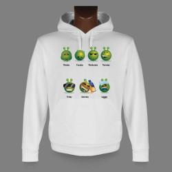 Sweatshirt blanc à capuche funny - Alien Smiley - La semaine de travail