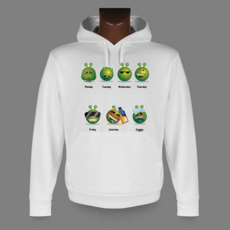Funny Kapuzen-Sweatshirt - Alien Smiley - Die Arbeitswoche