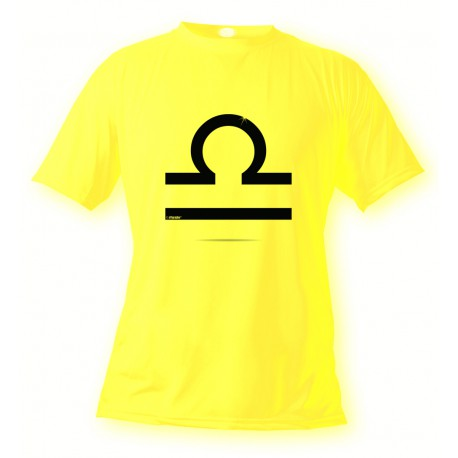 Women's or Men's astrological sign T-shirt - Libra, Safety Yellow
