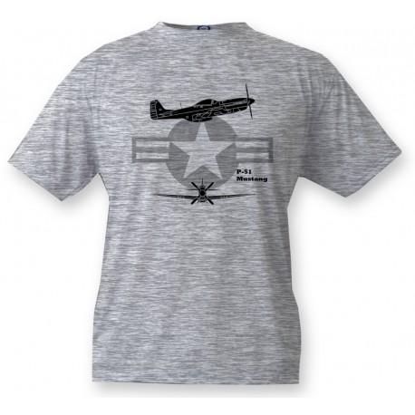 Kampfflugzeug Kinder T-shirt - P-51 Mustang, Ash Heater