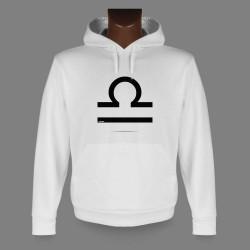 Sweat-shirt blanc à capuche - signe astrologique Balance