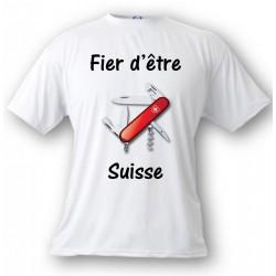 Herren T-Shirt - Fier d'être Suisse - Schweizer Armee Sackmesser, White