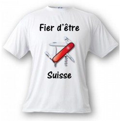 Men's T-Shirt - Fier d'être Suisse - Swiss Army Knife, White