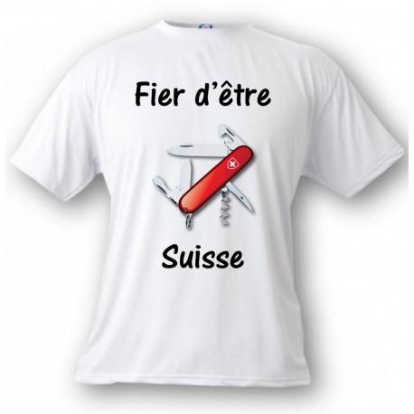Men's T-Shirt - Fier d'être Suisse - Swiss Army Knife, White