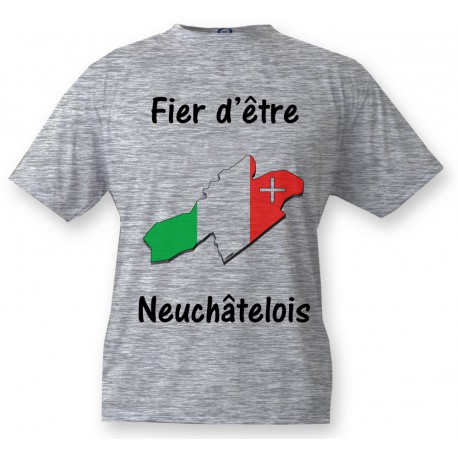 T-Shirt - Fier d'être Neuchâtelois- für Herren, Ash Heater