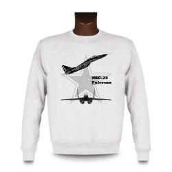 Sweat pour femme ou homme - Avion de combat - MiG-29 Fulcrum, White