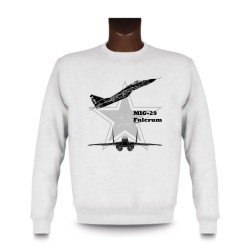 Women's or Men's Sweatshirt - Fighter Aircraft - MiG-29 Fulcrum, White